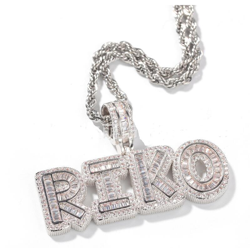 Hip-Hop-Männer 26 Brief Tennis Kette mit Anhänger Halskette Cuban Link Copper Frauen 2020 Körper Schmuck Custom Name Can 7 Buchstaben Joint Alphabet
