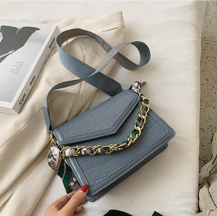 wholesale women handbag new styling leather shoulder bag street trend crocodile leather women messenger bag simple Joker scarf fashion bag
