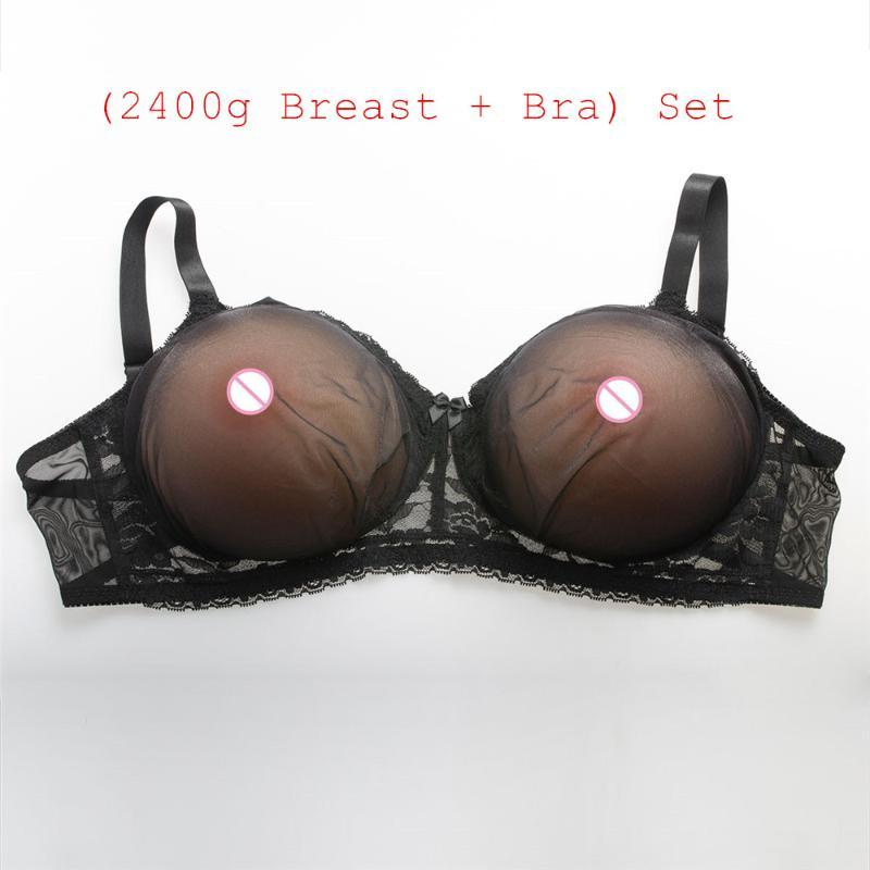 (2400g/pair Round Beige Super Large Silicone Breast+Sexy Black Transparent Lace Pocket Bra) Fake Boobs Silicone With Bra Set