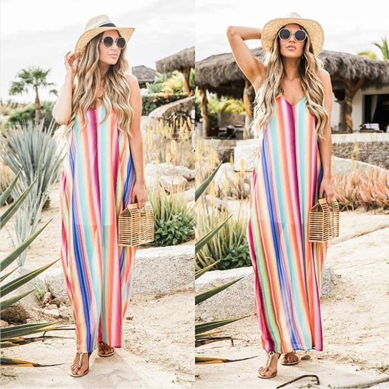 Sexy da praia encobrir Verão maxi vestidos para mulheres Swimsuit Halter V-Backless mangas listrado colorido solto Long Beach Vestido