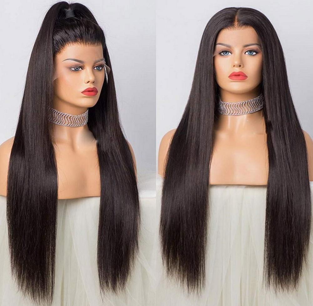 Popular style Lace Front Human Hair Wig 26 Inch Brazilian Remy Hair Straight Glueless Lace Frontal Wigs Transparent