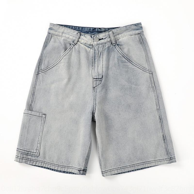 pantolon Yaz yönlü bKUcj RZPjb moda Şort erkekler yeni kot şort tulum moda düz-fit gevşek tulum gündelik