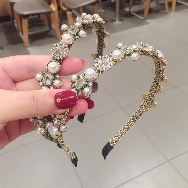 Luxury Elegant Rhinestone Women Headbands Vintage Baroque Style Hair Bands Wedding Pearl Upscale Hairlace for Bride