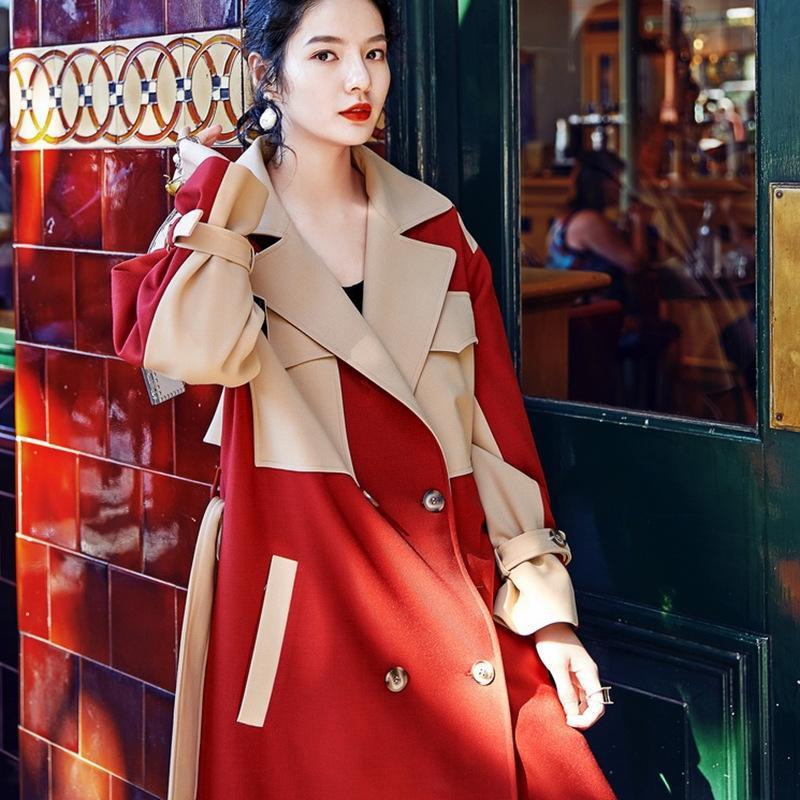 primavera AUDREYWANG OL estilo nuevo diseñador de cintura alta con cordones larga cazadora cortaviento cuello traje de contraste de color para las mujeres