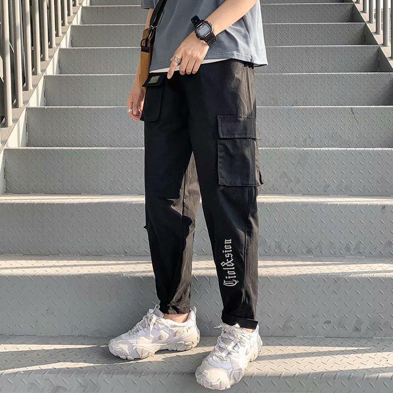 Hombres Primavera Verano 2020 Harem para hombre del estilo de Japón Joggers masculinos pantalones de Corea Ropa y largo hasta los tobillos