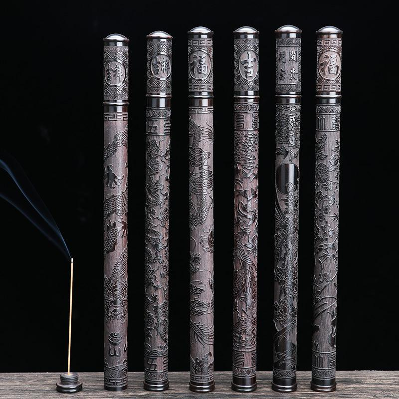 F Hight Quality Ebony Wood Stick Incense Tube Carved Thread Mouth Pulling Anti Elastic Incense Holder Temple Storage Box