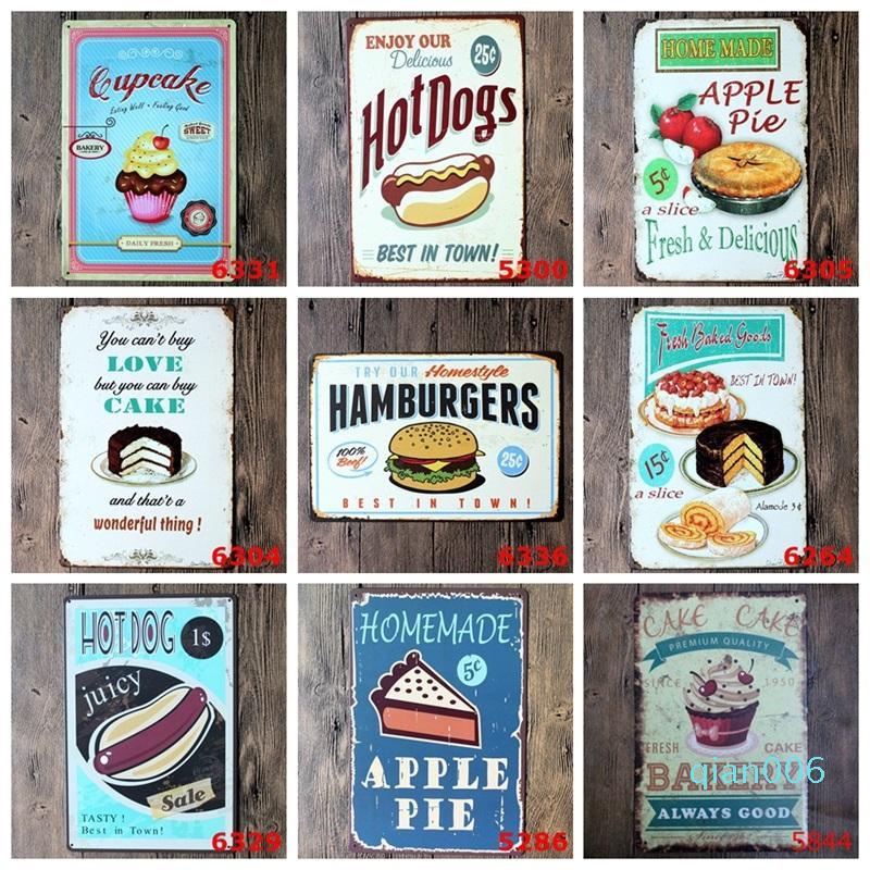 40 estilos Carteles de chapa de metal de la vendimia Pintura Arte étnico Europa Retro Cartel del perrito caliente, helado, pastel, hamburguesa, Señal palomitas pared del arte