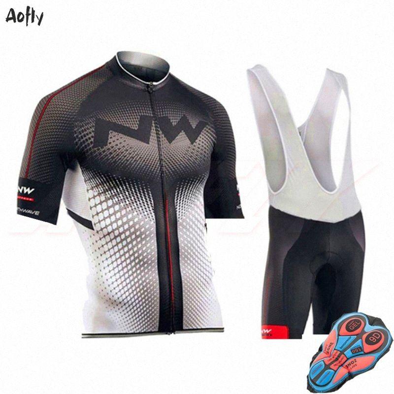 professione corte da ciclismo set jersey NW nero dell'uomo bianco Roupa ciclismo all'aperto biciclette vestiti bici Jersey MTB 9d BIB XMJc #