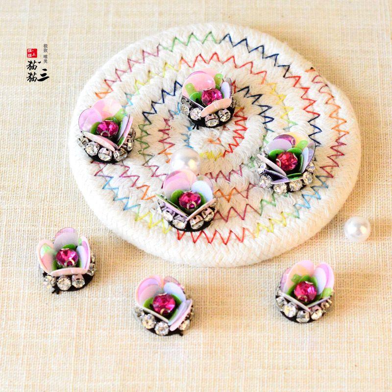20200816 Handmade de flores de pérolas flor de lantejoulas 3D roupas sapatos colar pano e chapéus diil acessórios de decoração de patch