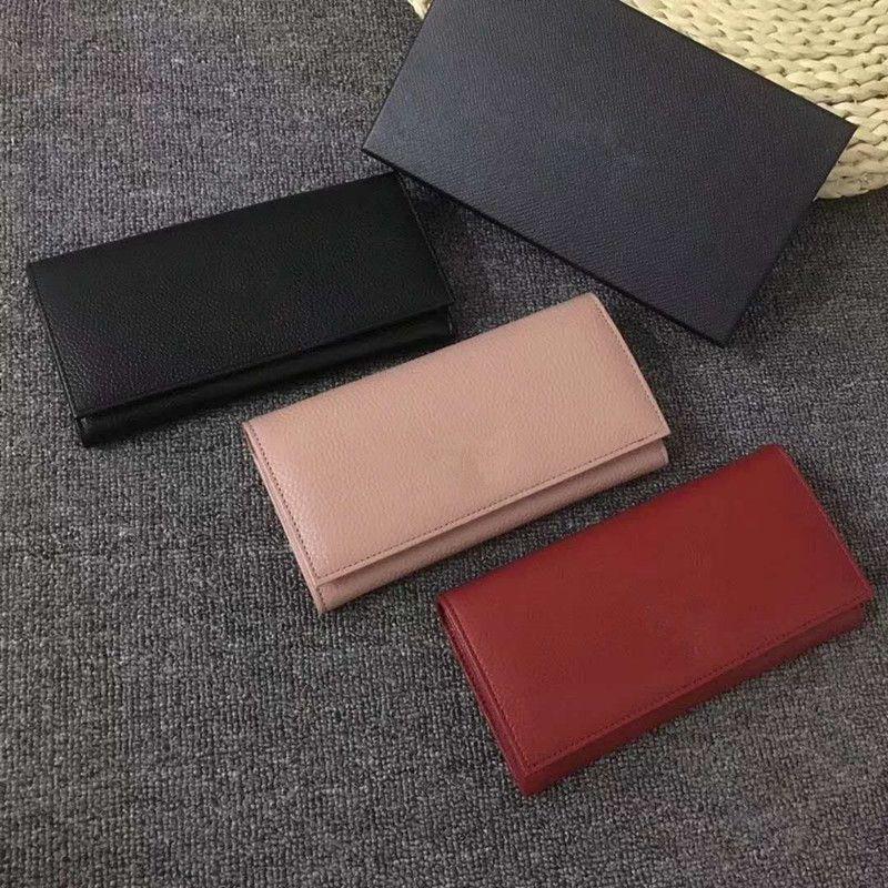 2020 Höchste Qualität echtes Leder-Art und Weise Neues Luxus-Abend-Änderungs-Geldbeutel Wallet Klassische Clutch Damen Geldbörse Versandkosten (mit Kasten)