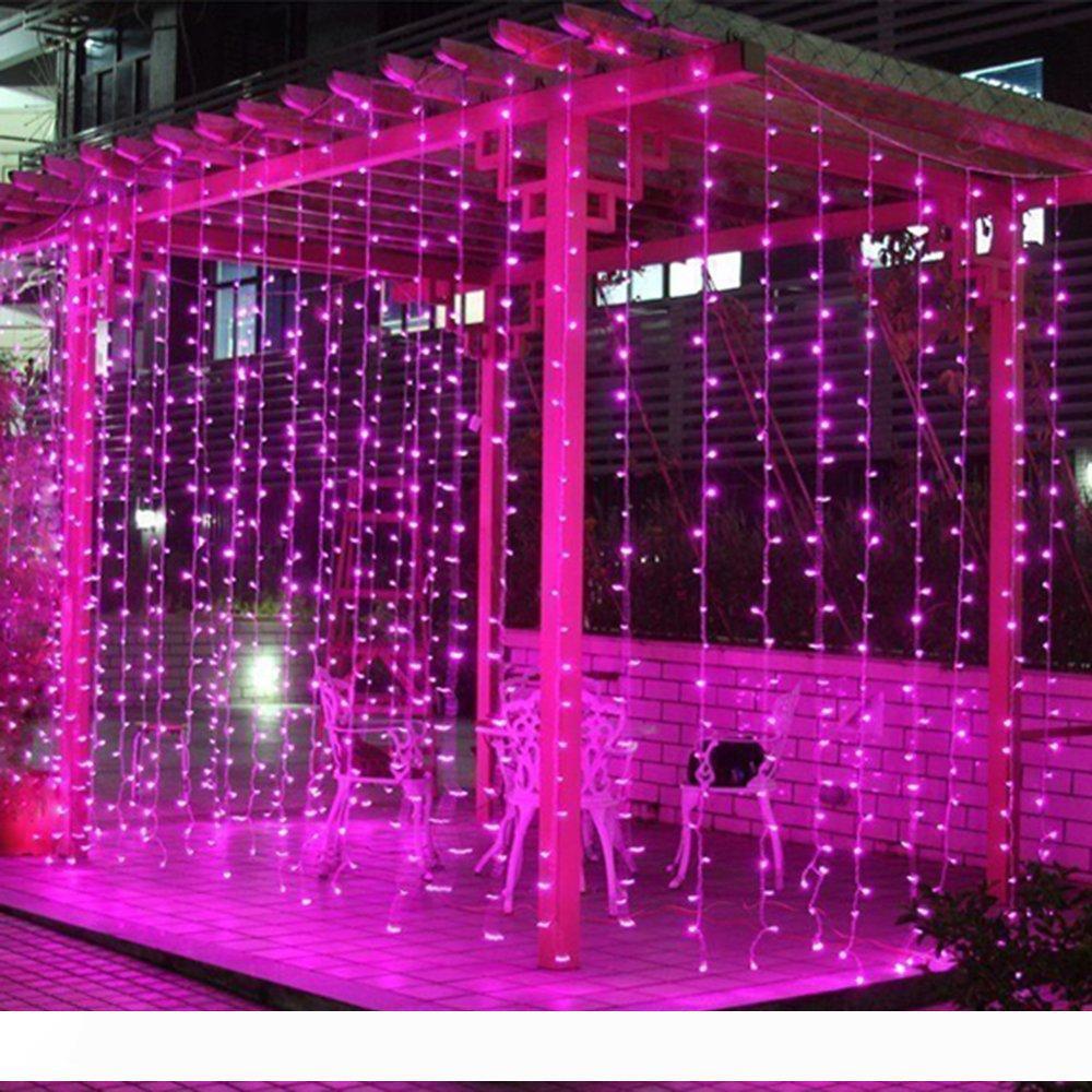 Cadena de Luz LED cortina de ventana 306 LED de luz de la secuencia del carámbano 9.8 pies x 9.8 pies 8 modos de Luz de Navidad para la cubierta boda al aire libre Patio de Navidad