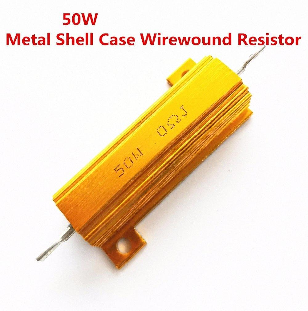 1Pcs full value 50W 0.01 -100K ohm 0.47R 0.5R 0.56R 0.68R 1R 1.5R 2R Wirewound Aluminum Power Metal Shell Case Resista 5% fcSb#