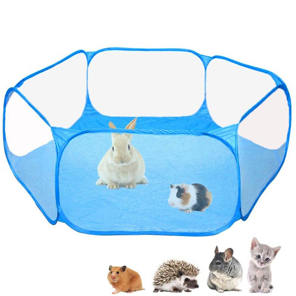 Foldable Transparent Breathable Pet Playpen Portable Cage Tent Small Animals