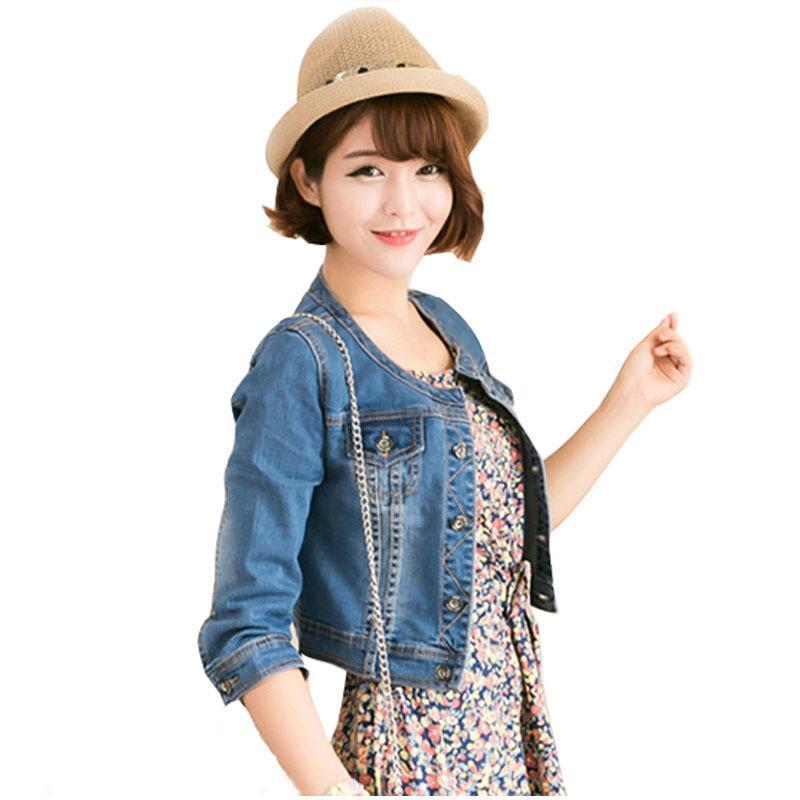 kadınlar Outwear Y200101 için Moda 2019 Sonbahar Vintage Kadınlar Jeans İnce Denim Ceket Kadınlar Kısa Jean Ceket ceketler