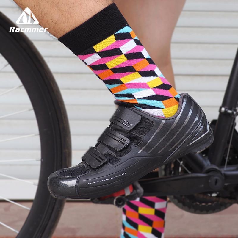Racmmer 2020 Nueva colorido Calcetines Hombres Mujeres Camino para bicicleta pegan la capilaridad de algodón al aire libre profesional