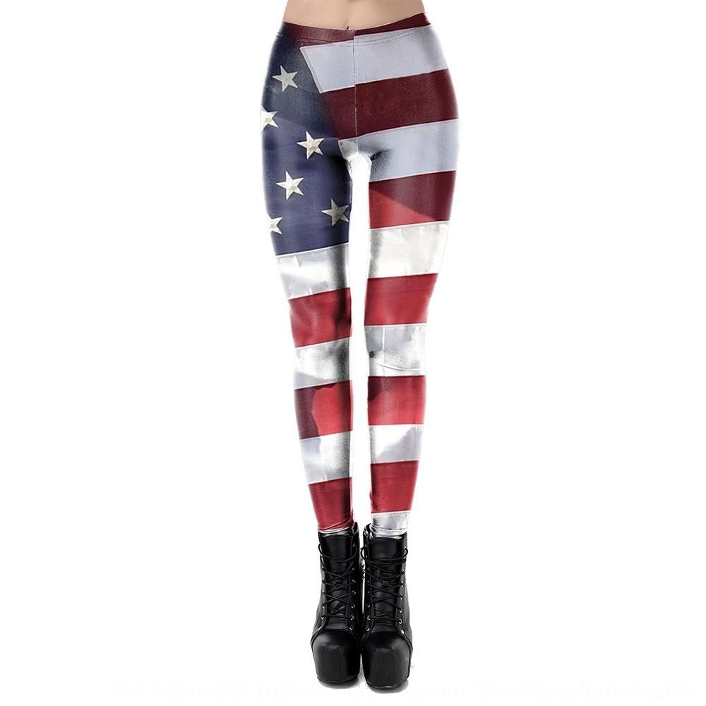 sC5nG Spring and Summer leggings all-match new American national casual striped sports printed flag elastic tights tight pants Flag tight pan