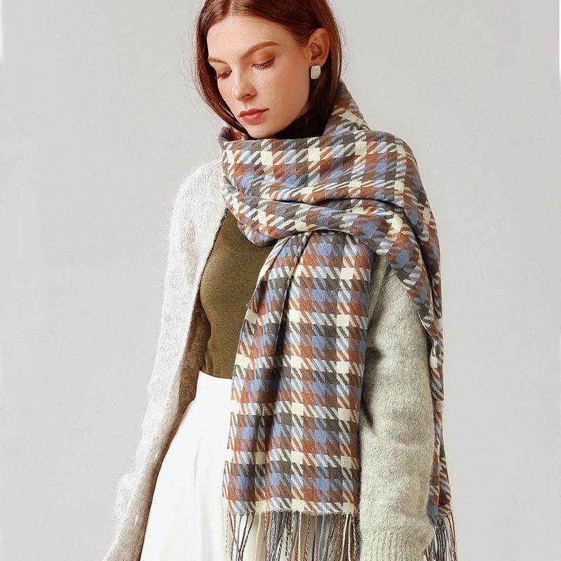 Femmes Nouveau Wrap long motif de vérification Châle coloré Plaid hiver chaud épais Houndstooth cachemire Echarpes avec pompons