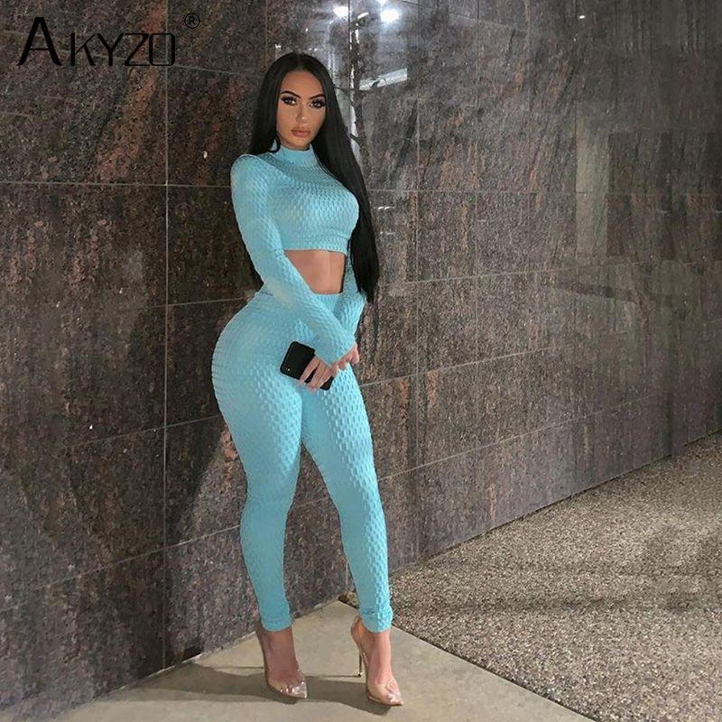 2020 Mulheres Blue Treino Outfits Long Sleeve Top Curto Legging Calças 2 Piece Matching Suit Lady moda fitness roupas elegantes