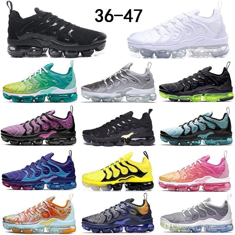 2020 Размер 13 Кроссовки Tn Plus Все Черные Тройные Белые Кроссовки Фиолетовый Dip Dye Wolf Grey Подушка Кроссовки Мужчины Женщины Спортивные Тренеры
