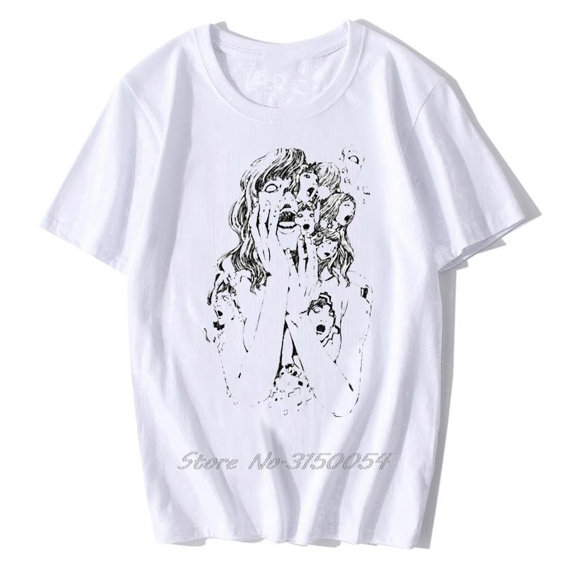 T-shirt Junji Ito T shirt dos homens Tecido engraçado Algodão Camiseta Homens de manga curta Tomie japonês Kago Manga Horror Harajuku Tees