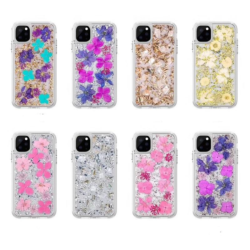 for Iphone 12 2in1 Phone Case Real Dried Pressed Flowers Pattern Silicone Case for iPhone 11 Pro X 6 7 8 Plus XR XS MAX