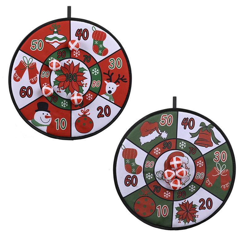 4 스티커 공 키즈 크리스마스 가족 파티 게임으로 벽 다트 보드 매달려 크리스마스 공 다트 보드 게임 세트