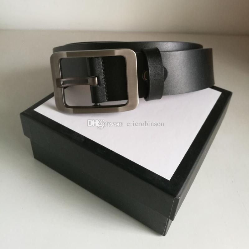 Correas del diseñador para hombre del diseñador de la correa Cinturones de lujo correa de cuero de Mujeres de Negocios de Gran Oro Plata Hebilla Negro regalo