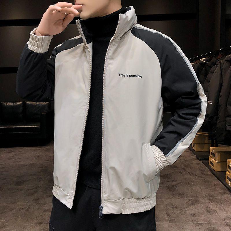 Manera ocasional capa de los hombres de invierno nuevo algodón caliente de la chaqueta Soporte masculino collares Cremalleras rompevientos Parka para hombre de lujo del sobretodo del tamaño grande