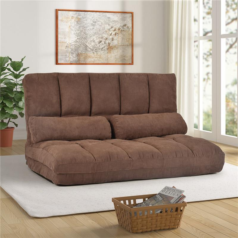 US stock, Fast shipping, Double Chaise Lounge Sofa Floor Couch and Sofa with Two Pillows (Brown) PP036317DAA