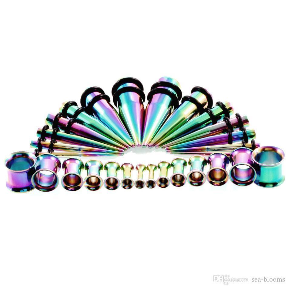 Moda 6 Renk Akrilik Kulak Göstergeler Seti Renkli 28pcs Seti Kulak Konik ile Tak Piercing Takı Noel Hediyesi G86LR Esneme Set