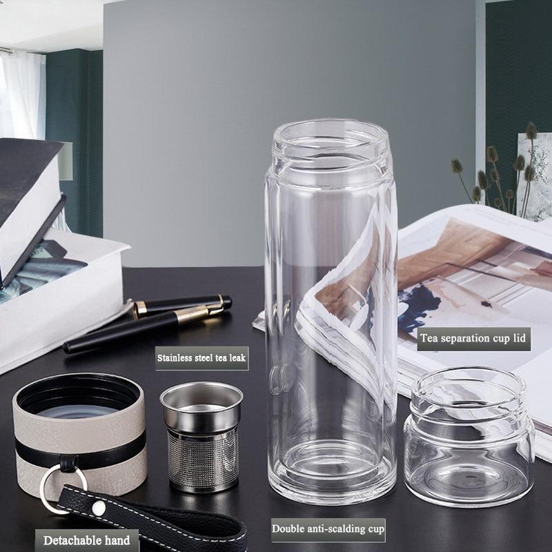 Bottiglie da 500 ml in vetro acqua per bottiglia Dink Tè Con Infuser doppia parete per la corsa acqua esterna portatile tazza di tè Tumbler Y200330
