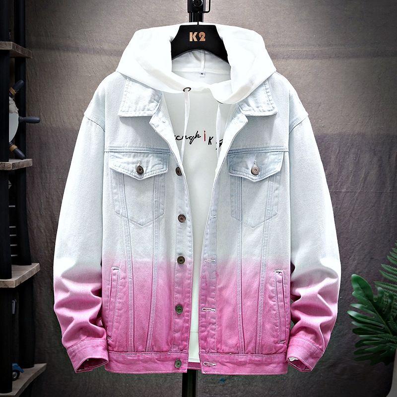 Männer mit langen Ärmeln Revers gewaschen Jugend Jeansjacke Herren-Gradienten schlank Mode Persönlichkeit Jacke wLImS