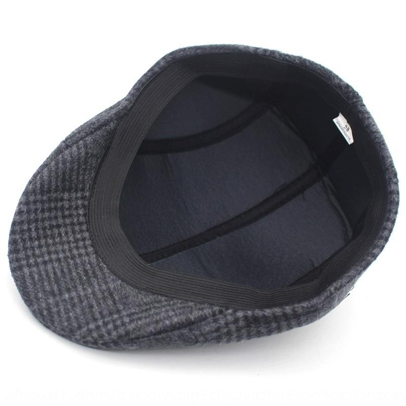 Männer Herbst und Winter verdickte warme Mütze für ältere Menschen nach vorne Hut Warm Barett Barett lässig karierten Hut für Männer