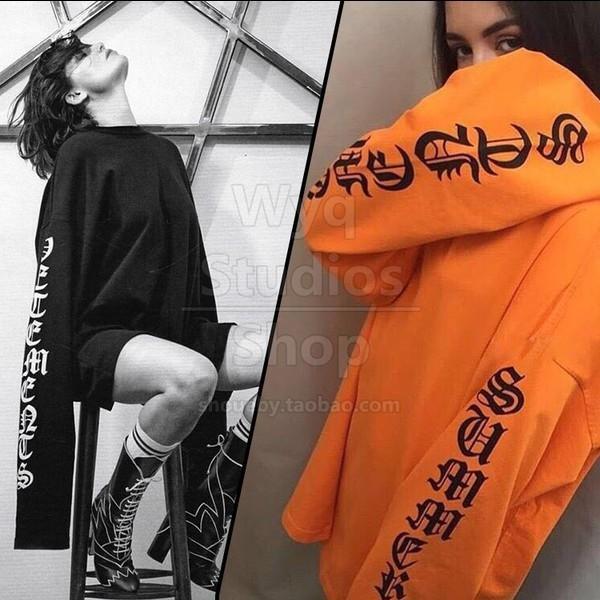 mismo estilo exo Huang Zitao canción Qian suéter de manga gigante letra doble suelta de manga larga estilo coreano delgada sweate de los hombres de los estudiantes y de las mujeres