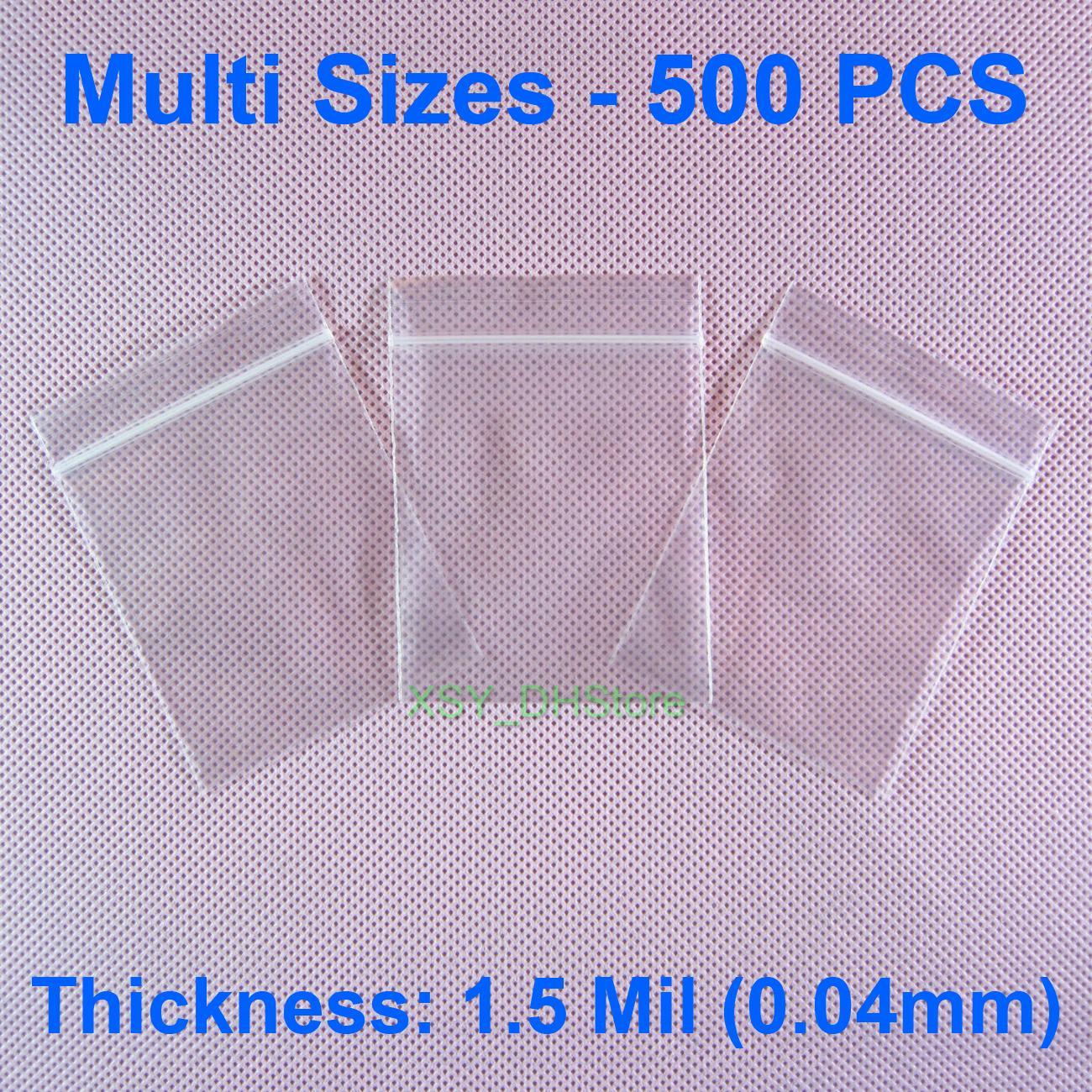 """Мульти Размеры 500 PCS 1.5 Mil Поли молнии Сумки дюйма (1,5"""" - 9,4 """") х (2,5"""" - 13,8"""" ) Пластиковые упаковки для хранения мешочек (от 40 до 240 мм) х (от 65 до 350 мм)"""