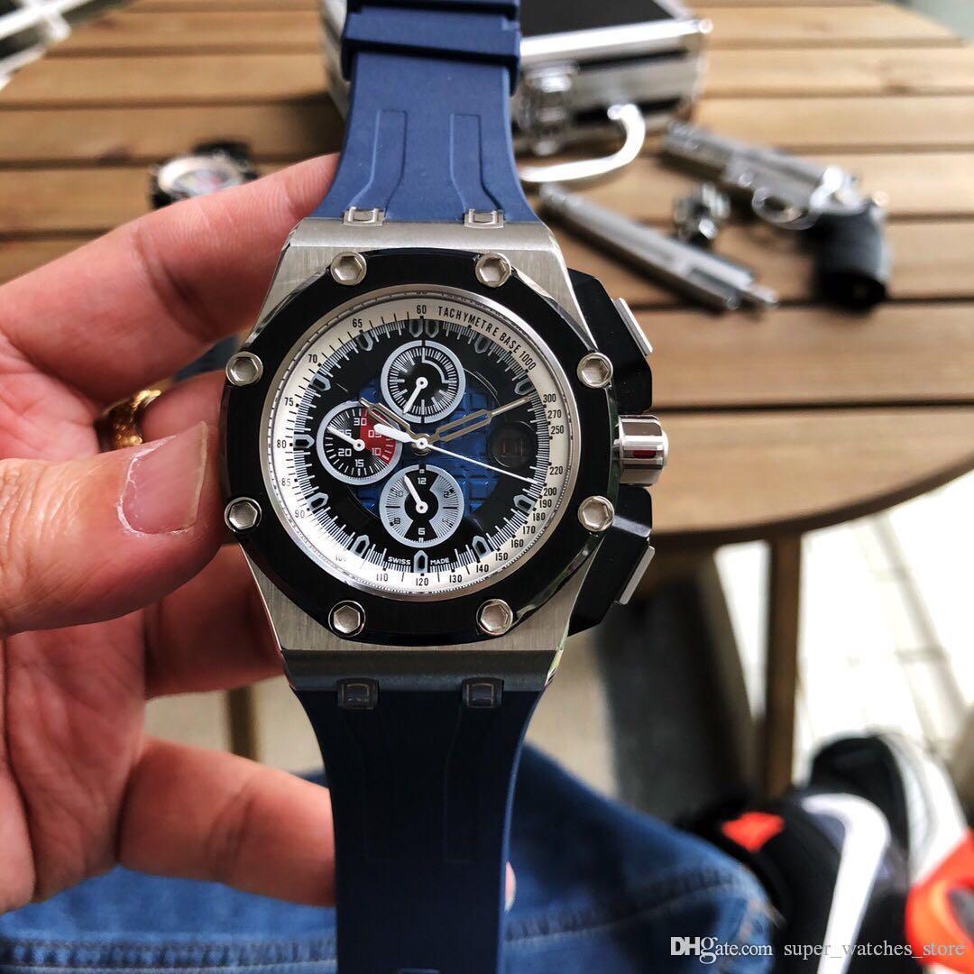 Súper 98 montre de Luxe 3126 relojes mecánicos automáticos de movimiento de 44 mm * 13 mm 316 fina de caucho caja de acero correa de la hebilla originales
