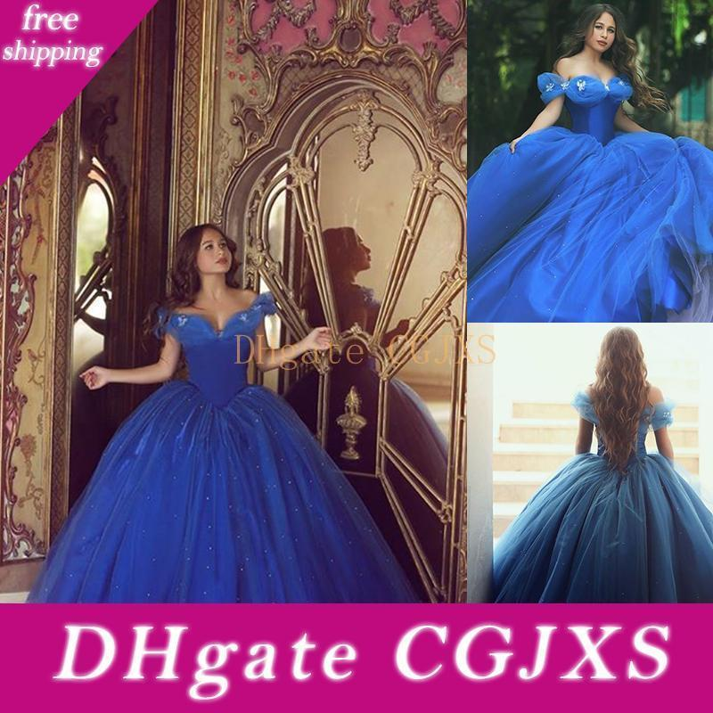 Hot Sale Cinderella Dresses Royal Blue Quinceanera Prom Gowns Elegant Off The Shoulder Sweet 16 Tulle Puffy Ball Gowns Weddings Dresses