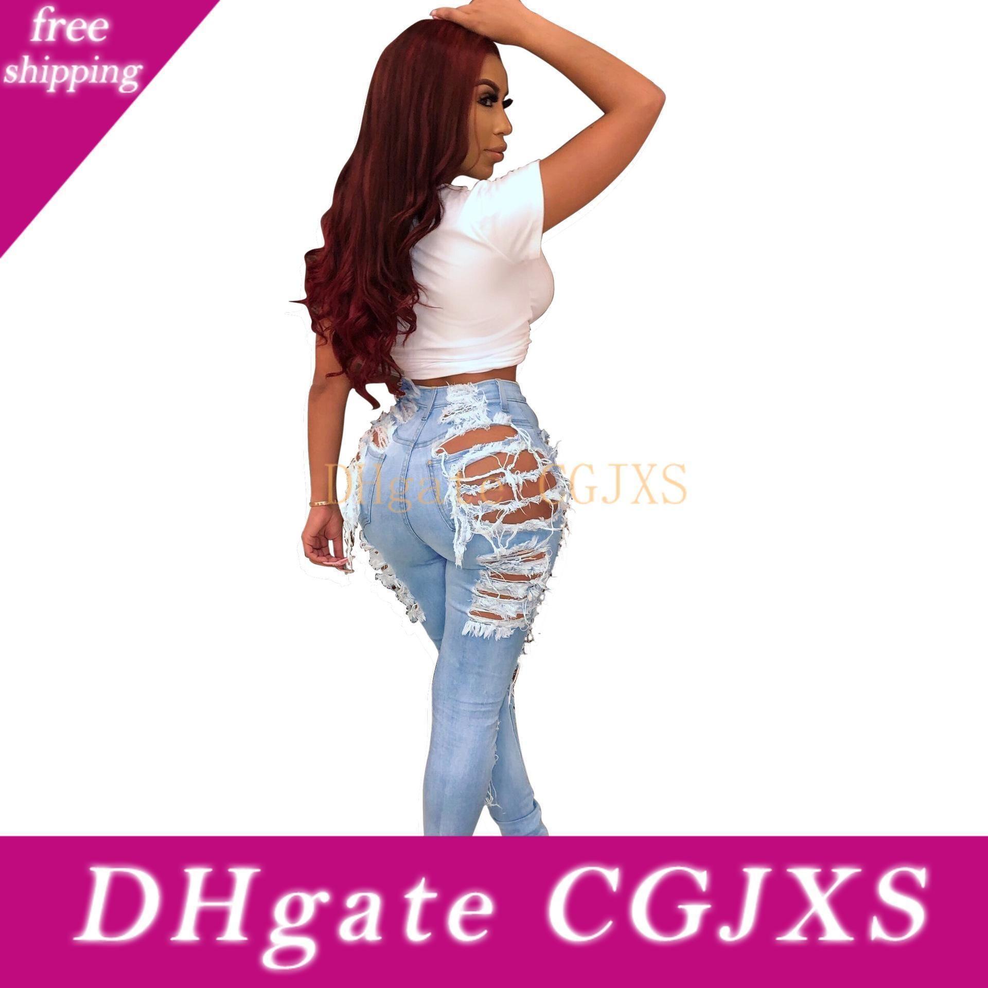2019 Branqueamento Casual Feminino rasgado de ganga para mulheres Skinny Jeans Mulher cintura alta lápis Pants Sexy Denim Plus Size Mom Jeans