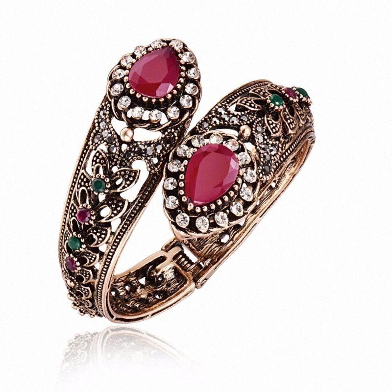 Türkische Hochzeit Statement-Armband-Armbänder für Frauen Antik Gold Farbe pflaster Kristall Big-Wasser-Tropfen-Harz-Charme-Armband 8nOw #