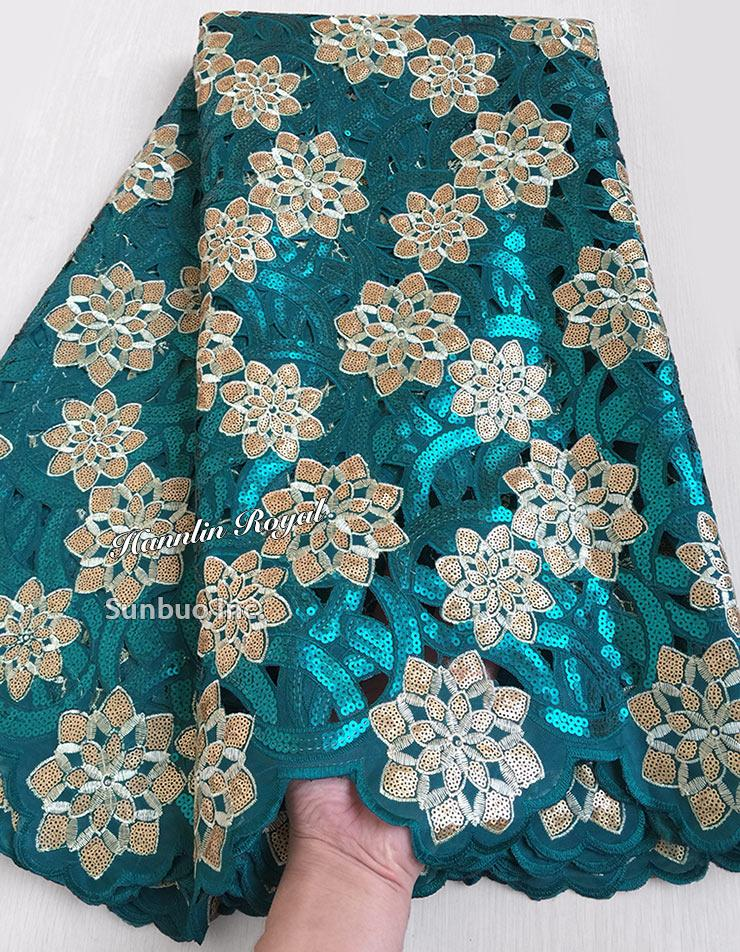 5 yards teal green Gold African Handcut lace organza fabric Shinny Nigerian party clothes with lots of sequins hot sale