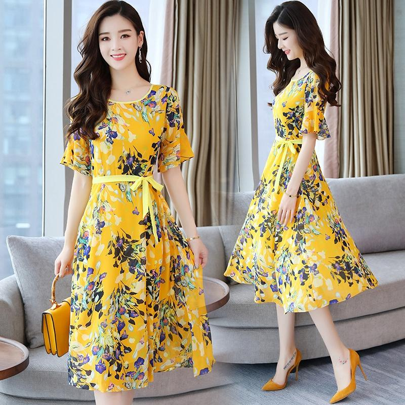 2019 богемной цветочные молока шелковое платье шелк молока женщин платья длинные юбки лета новый элегантный похудение nG2vA