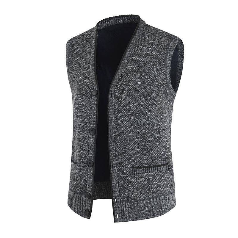 Outono inverno homens camisola colete grosso quente casual casacos sem mangas camisola caxemere masculino malha lã vasilha colete