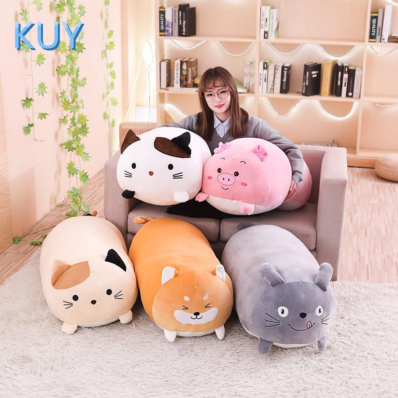 60/90CM New Giant Cute Plush Toys Stuffed Animal Doll Lovely Cat Dog Pig Toroto Sofa Pillow Cushion Kids Appease Toy Home Decor MX200716