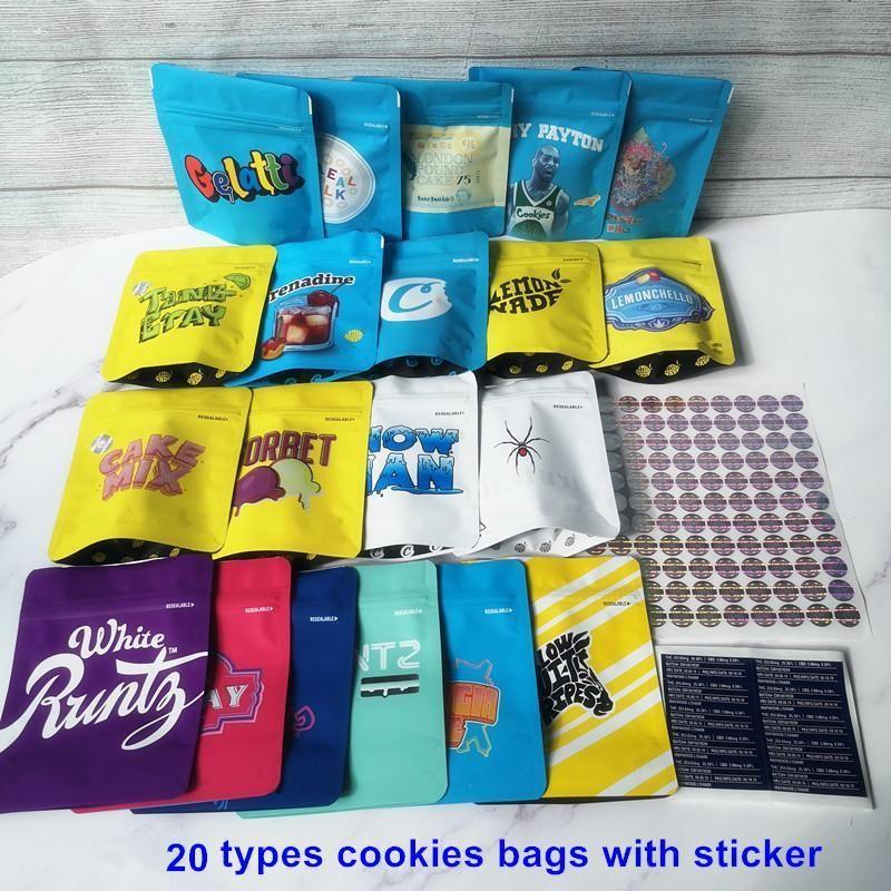 Preço mais barato biscoitos Runtz Mylar Zipper sacos erva seca embalagem saco de 3,5g Chá doce Londres Jefe gelatti Grey Payton Runtz Cereal Milk jeff