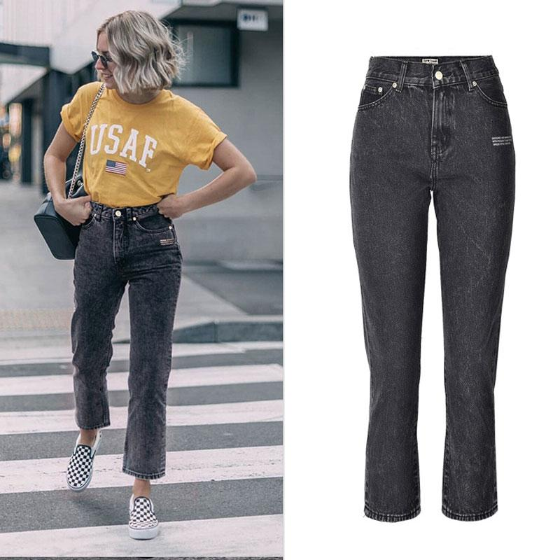 Huldra Bayanlar Yüksek Bel Gevşek Düz Sıcak Baskı Mektupları Yabani Popüler Dokuz Jeans Puan