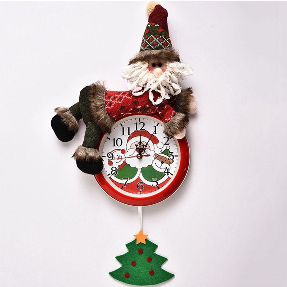 Colgante de la Navidad del reloj de Santa Claus muñeco de nieve colgante de la Navidad del reloj de pared del dormitorio del hogar Feliz Navidad relojes Decoración Seashipping LJJP295
