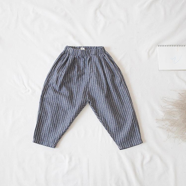 FM Korean Japan Quality INS Autumn Kids Little Boys Trousers Stipes Pants Linen Cotton Winter Elastic Wasit Spring Children Girls