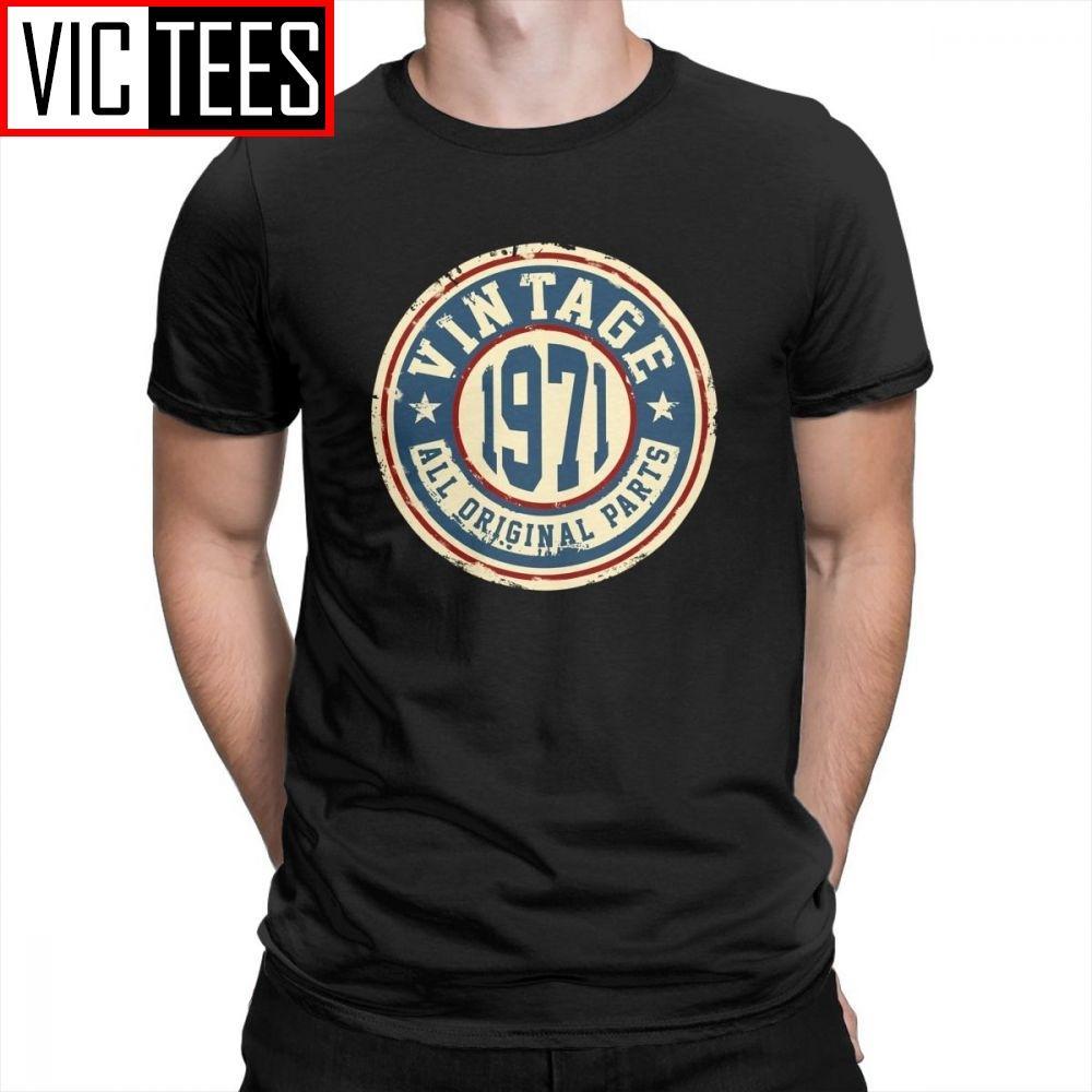 Vintage 1971 Tous les pièces d'origine T-shirt imprimé 100% coton impressionnant Hipster T-shirt à manches courtes O-Neck T-shirts de l'homme