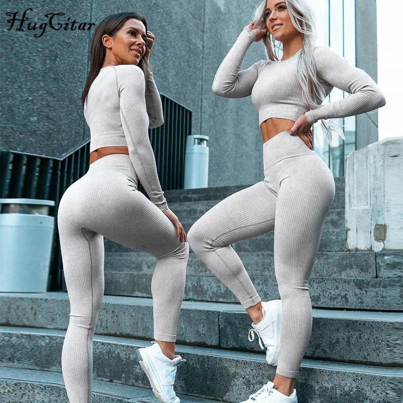 Hugcitar 2019 manica lunga elastico sexy delle colture top leggings 2 due pezzi insieme autunno inverno le donne sportswear tuta T200825
