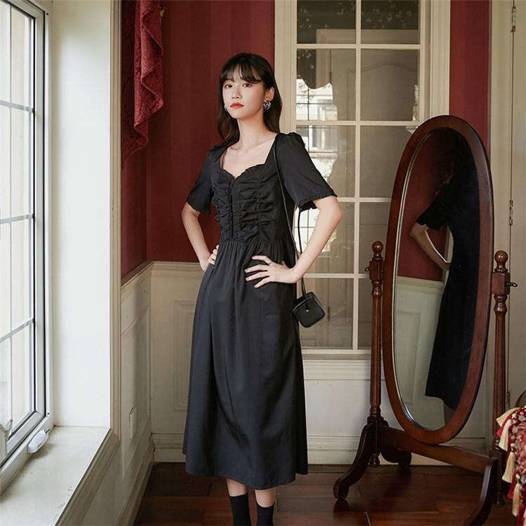 Vay4L q5R8N robe taille d'été pour les femmes 2020 Français nouvelle haute A- JUPE A- Une élégante jupe mi-longueur à encolure en V plissé robe de ligne noire Line-